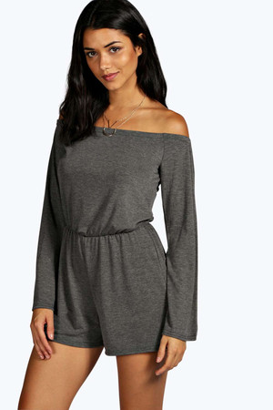 Tie Back Flute Sleeve Jersey Playsuit charcoal