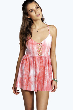 Tie Dye Criss Cross Playsuit coral