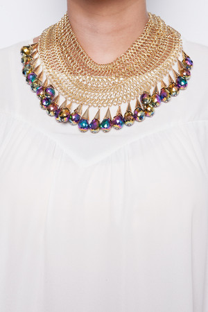 Tina Gold & Multi Beaded Chain Necklace