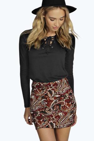 Tonal Paisley Mini Skirt - multi