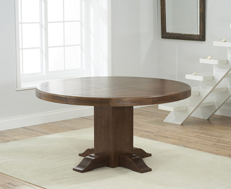Torino 150cm Dark Solid Oak Round Pedestal Dining Table