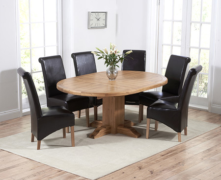 Torino Solid Oak Round Extending 125-180cm Pedestal Dining Table with Kentucky Chairs