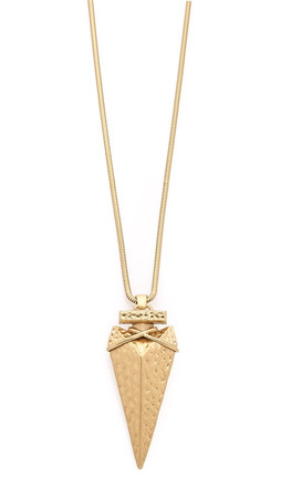 Tory Burch Arrowhead Metal Pendant Necklace - Gold Ox Matte