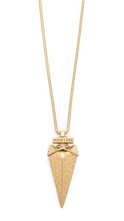 Tory Burch Arrowhead Metal Pendant Necklace - Gold Ox Matte