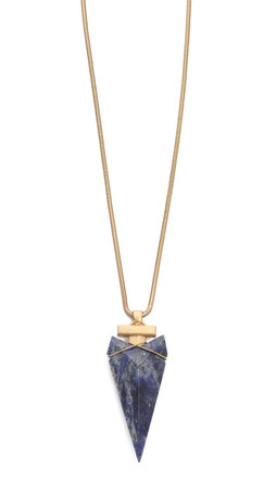 Tory Burch Arrowhead Stone Pendant Necklace - Natural/Gold Ox Matte
