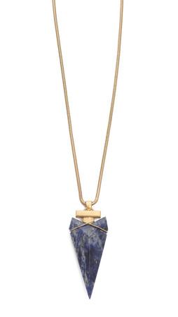 Tory Burch Arrowhead Stone Pendant Necklace - Natural/Gold Ox Matte