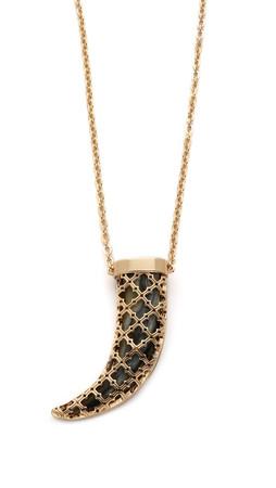 Tory Burch Babylon Horn Pendant Necklace - Horn/Shiny Gold