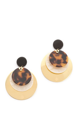 Tory Burch Disc Layered Earrings - Horn/Tort/Shiny Gold