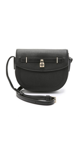 Tory Burch Double T Padlock Messenger Bag - Black