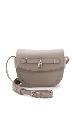 Tory Burch Double T Padlock Messenger Bag - French Gray