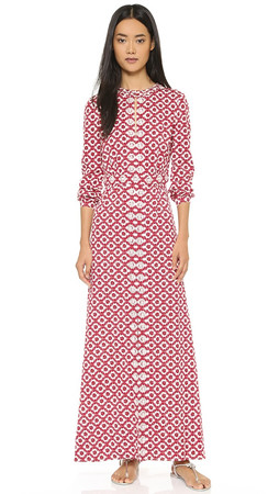 Tory Burch Embellished Textured Maxi Dress - Red Currant Crystals