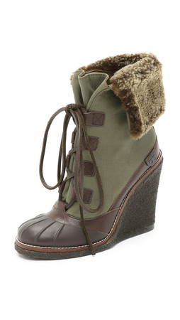 Tory Burch Fairfax Wedge Booties - Espresso/New Olive/Coconut