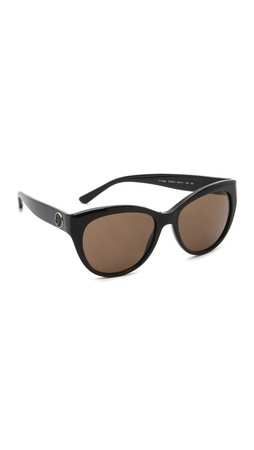Tory Burch Full Rim Cat Eye Sunglasses - Black/Smoke