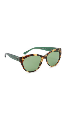 Tory Burch Full Rim Cat Eye Sunglasses - Tokyo Tort Green/Green