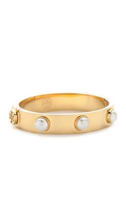 Tory Burch Imitation Pearl Bracelet - Ivory/Shiny Gold