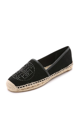 Tory Burch Kirby Suede Flat Espadrilles - Black