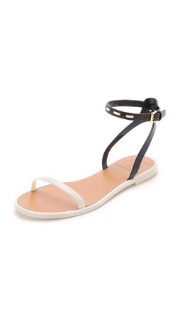 Tory Burch Leather Ankle Strap Jelly Sandals - Ivory/Tory Navy/Coconut/Ivory