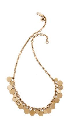 Tory Burch Logo Charm Short Necklace - Worn Gold