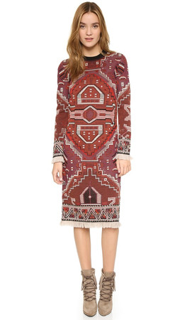 Tory Burch Long Sleeve Dress - Tapestry Jacquard