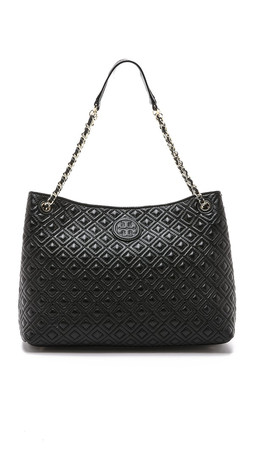 Tory Burch Marion Quilted Tote - Black