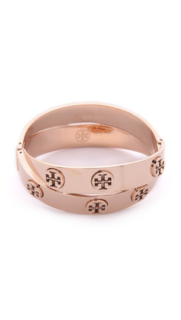 Tory Burch Metal Logo Double Wrap Bracelet - Rose Gold