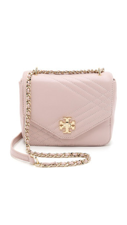 Tory Burch Mini Kira Quilted Cross Body Bag - Light Oak