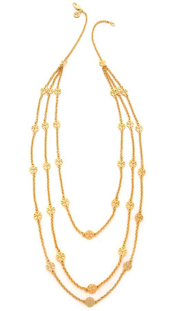 Tory Burch Multi Strand Logo Necklace - Shiny Gold
