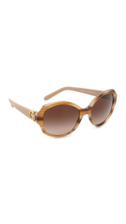 Tory Burch Oversized Sunglasses - Medium Horn Grapefruit/Brown