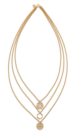 Tory Burch Perforated Charm Triple Strand Necklace - Shiny Gold