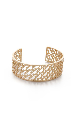 Tory Burch Perforated Serif T Cuff Bracelet - Shiny Gold