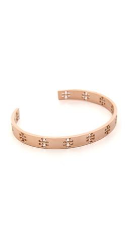 Tory Burch Pierced T Cuff Bracelet - Rose Gold