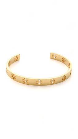 Tory Burch Pierced T Cuff Bracelet - Shiny Gold
