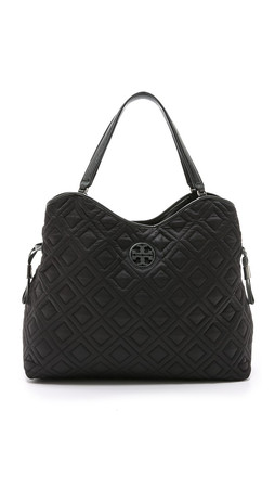 Tory Burch Quilted Slouchy Baby Bag - Black