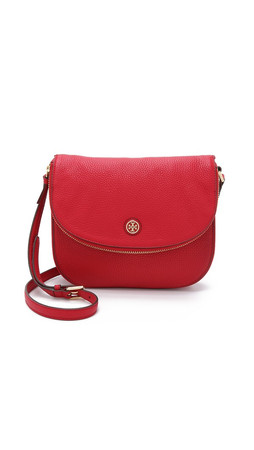 Tory Burch Robinson Pebbled Messenger Bag - Kir Royale