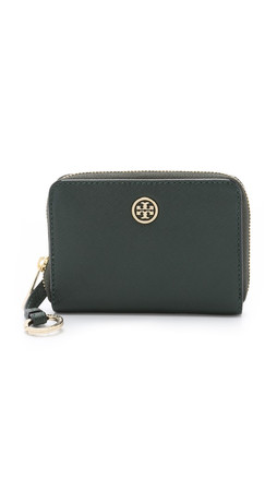 Tory Burch Robinson Zip Coin Case - Jitney Green