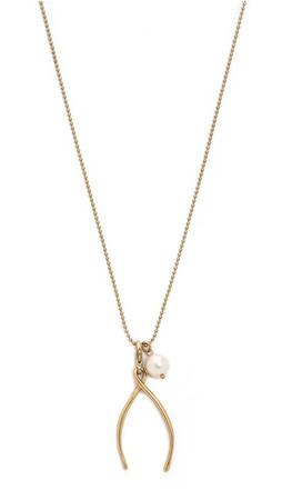 Tory Burch Wishbone Charm Necklace - Gold Ox