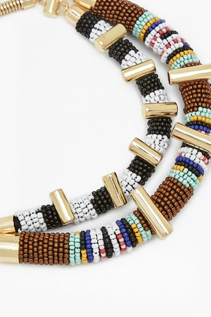 Tribal Bead Necklace - Gold Multi