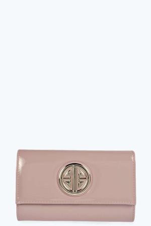 Trim Patent Clutch Bag - blush