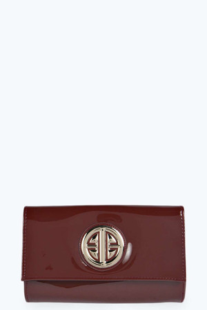 Trim Patent Clutch Bag brown