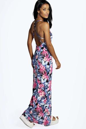 Tropical Strappy Back Maxi Dress multi
