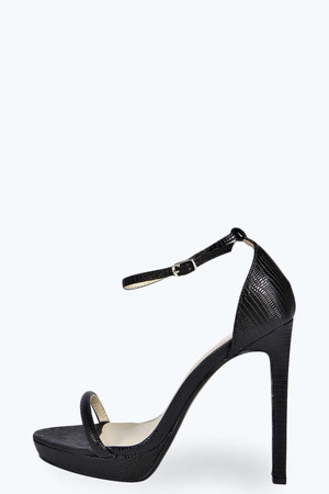 Two Part Croc Skinny Strap Platform Heels black