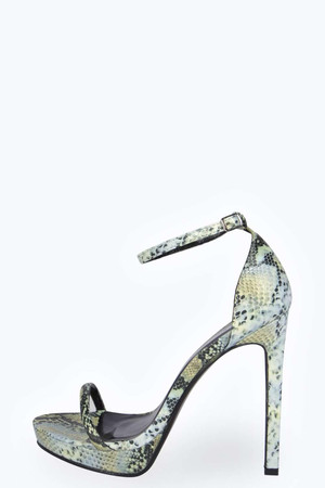 Two Part Snake Print Platform Heels green