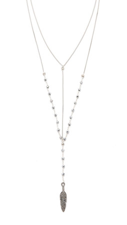 Vanessa Mooney Carry On Our Way Feather Necklace - Silver