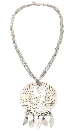Vanessa Mooney Eagle Medallion Necklace - Silver