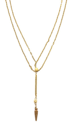 Vanessa Mooney Long Nights Double Chain Dagger Necklace - Gold