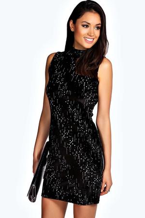 Velvet Glitter High Neck Bodycon Dress - black