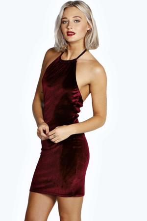 Velvet Strappy Bodycon Dress berry