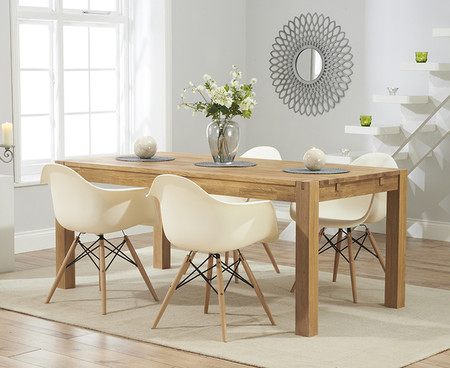 Verona 150cm Solid Oak Extending Dining Table with Charles Eames Style DSW Eiffel Tub Chairs