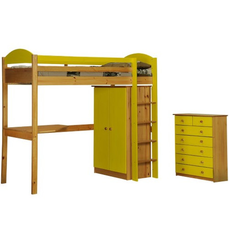 Verona Design Maximus High-Sleeper Bedroom Set with Drawers in Antique Pine and Lime