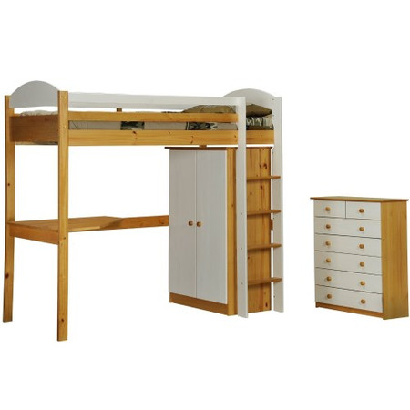 Verona Design Maximus High-Sleeper Bedroom Set with Drawers in Antique Pine and White